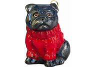 Pug w/Red Cable Sweater Christmas Ornament (Black)