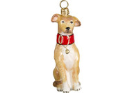 Greyhound Glass Christmas Ornament Fawn