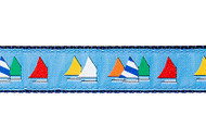 Sailboats Dog Collar and Leash (Rainbow Fleet on Light Blue)