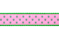 Paw Print Dog Collar and Leash (Green on Pink)