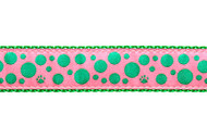 Polka Dot Dog Collar and Leash (Green on Pink)