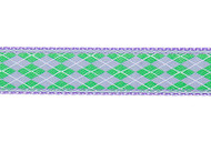 Argyle Dog Collar and Leash (Lilac and Green)