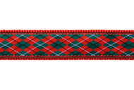 Argyle Dog Collar and Leash (Red and Green)