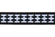 Argyle Dog Collar and Leash (Black and White)