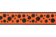 Polka Dot Dog Collar and Leash (Black on Orange)