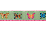 Butterflies Dog Collar and Leash (Light Green)