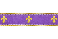 Fleur de lis Dog Collar & Leash (Purple)