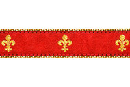 Fleur de lis Dog Collar & Leash (Red)
