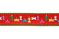 Holiday Red Glitter Bone Dog Collar & Leash