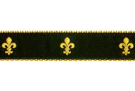 Fleur de lis Dog Collar & Leash (Black)
