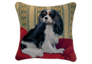 """Cavalier King Charles Spaniel Tri Color Needlepoint Pillow 14"""""""