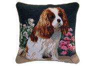 "Cavalier King Charles Spaniel Needlepoint Pillow 14"" Floral"