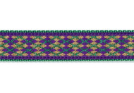 Argyle Dog Collar and Leash Mardi Gras