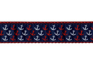 Red, White and Blue Anchor Dog Collar and Leash