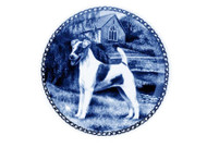 Smooth Fox Terrier Danish Blue Dog Plate