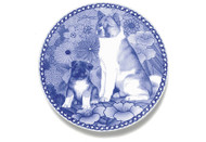 Akita Puppy Danish Blue Dog Plate