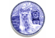 Yorkie Puppy Danish Blue Dog Plate