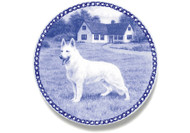 German Shepherd (White) Danish Blue Dog Plate