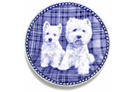 Westie Puppy Danish Blue Dog Plate