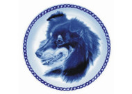 Sheltie Face Danish Blue Dog Plate (# 4)