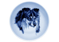 Sheltie Face Danish Blue Dog Plate (# 3)