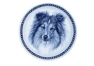 Sheltie Face Danish Blue Dog Plate