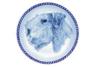 Sealyham Terrier Face Danish Blue Dog Plate