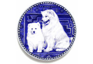 Samoyed Puppy Danish Blue Dog Plate