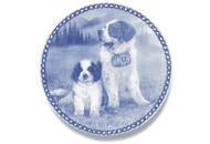 Saint Bernard Puppy Danish Blue Dog Plate