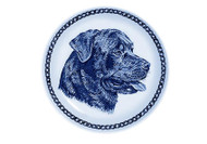 Rottweiler Face Danish Blue Dog Plate (# 2)