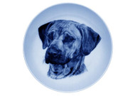 Rhodesian Ridgeback Face Danish Blue Dog  Plate