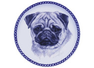 Pug Face Danish Blue Dog Plate (# 2)