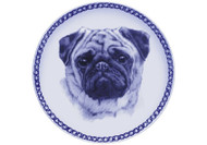 Pug Face Danish Blue Dog Plate