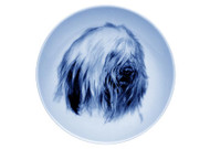Old English Sheepdog Face Danish Blue Dog Plate