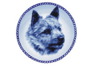 Norwich Terrier Face Danish Blue Dog Plate