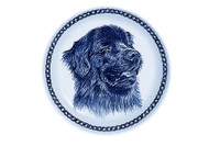 Newfoundland Face Danish Blue Dog Plate