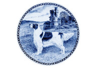 Irish Red & White Setter  Danish Blue Dog Plate