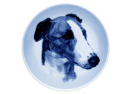 Greyhound Face Danish Blue Dog Plate