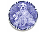Golden Retriever Puppy Blue Plate