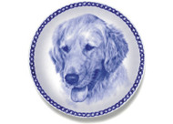 Golden Retriever Face Danish Blue Dog Plate