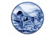 German Wirehaired Pointer Danish Blue Dog Plate (# 2)