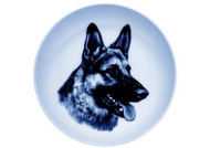 German Shepherd Face Danish Blue Dog Plate