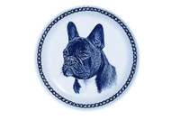 French Bulldog Face Danish Blue Blue Plate