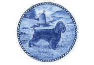 Field Spaniel Danish Blue Dog Plate