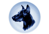 Doberman Face Danish Blue Dog Plate