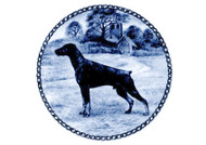 Doberman (Ears Down) Danish Blue Dog Plate (# 2)