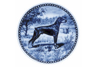 Doberman (Ears Down) Danish Blue Dog Plate