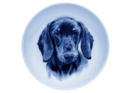 Dachshund (Smooth) Face Danish Blue Dog Plate (# 2)
