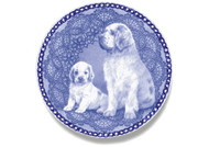 Clumber Spaniel Puppy Danish Blue Dog Plate