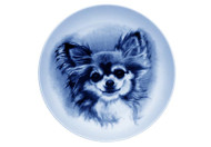 Chihuahua Long Hair Face Danish Blue Dog Plate